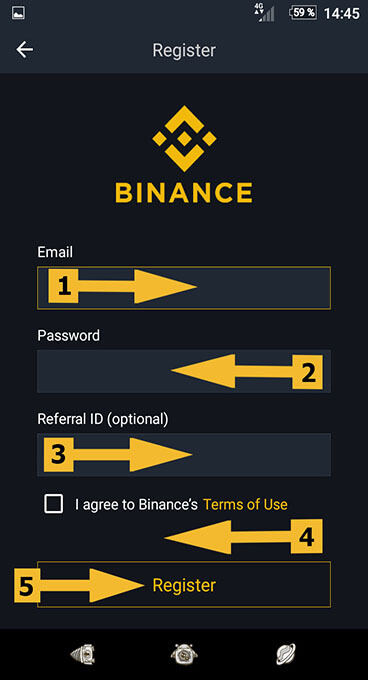 Регистрация на Binance через Android