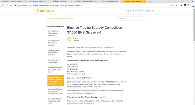 Обзор Binance: конкурсы и акции