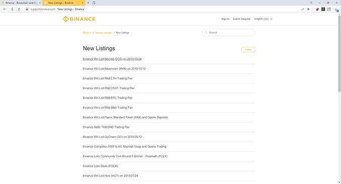 Обзор Binance: листинг